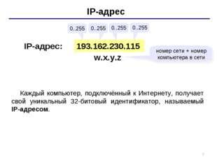 * IP-адрес 193.162.230.115 0..255 0..255 0..255 0..255 IP-адрес: w.x.y.z номе