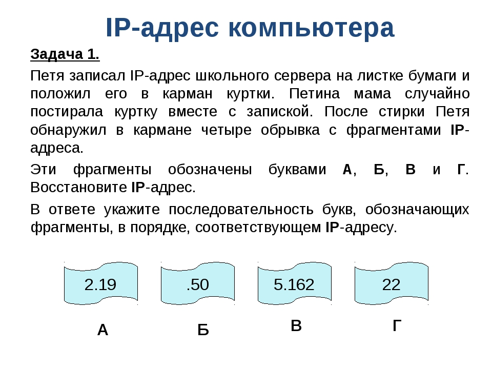 IP-адрес компьютера Задача 1. Петя записал IP-адрес школьного сервера на лист...