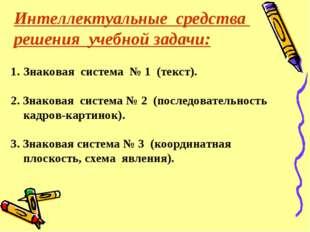 Интеллектуальные средства решения учебной задачи: Знаковая система № 1 (текст