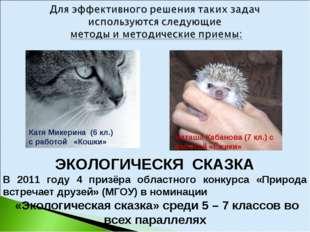 ЭКОЛОГИЧЕСКЯ СКАЗКА В 2011 году 4 призёра областного конкурса «Природа встреч