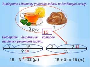? 3 3 руб 15 3 15 ? ? 15 15 – 3 15 + 3 18 12 Выберите к данному условию задач
