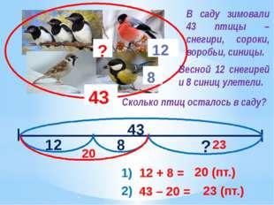 43 12 8 ? 43 12 8 ? 1) 12 + 8 = 20 (пт.) 20 2) 43 – 20 = 23 (пт.) 23 В саду