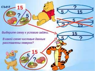 15 15 съел ? 5 5 ? 5 15 15 5 ? ? 15 5 ? Выберите схему к условию задачи. В к