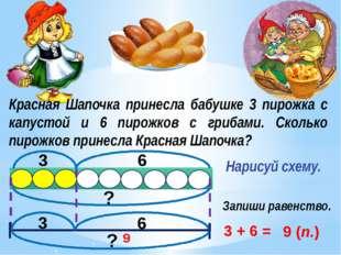 Красная Шапочка принесла бабушке 3 пирожка с капустой и 6 пирожков с грибами.