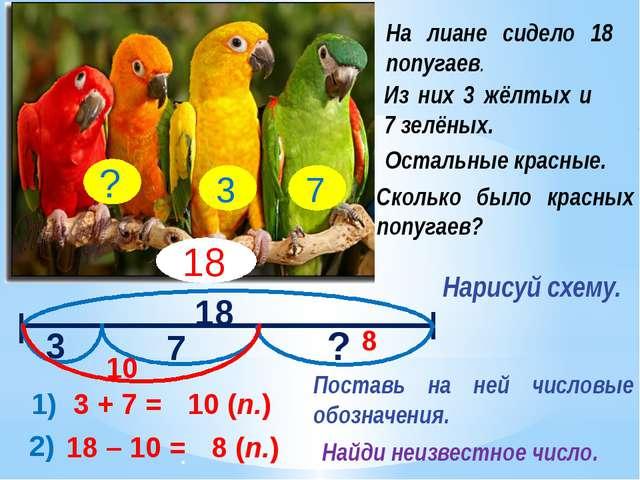 18 3 7 ? 1) 3 + 7 = 10 (п.) 2) 10 18 – 10 = 8 (п.) 8 Сколько было красных по...