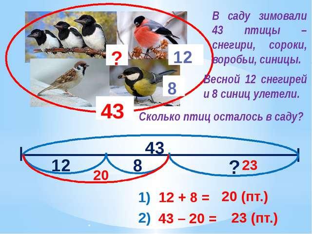 43 12 8 ? 43 12 8 ? 1) 12 + 8 = 20 (пт.) 20 2) 43 – 20 = 23 (пт.) 23 В саду...