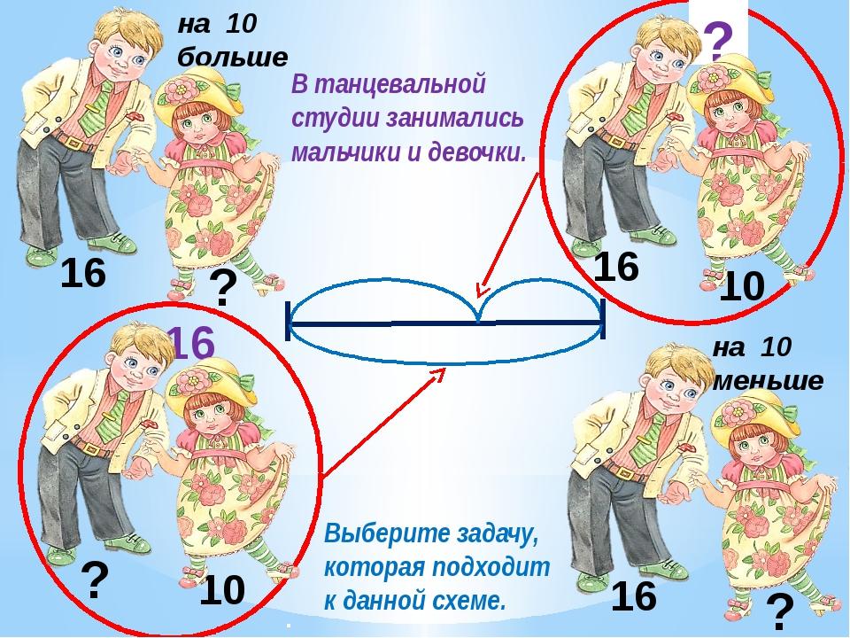 16 10 16 ? 10 ? 16 ? ? на 10 меньше Выберите задачу, которая подходит к данно...