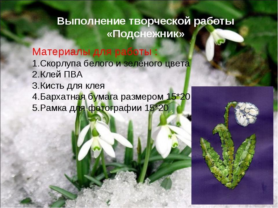 Выполнение творческой работы «Подснежник» Материалы для работы : Скорлупа бел...