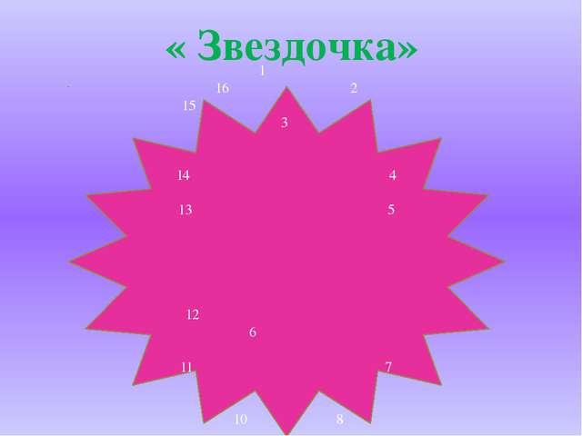 1 16 2 15 3 14 4 13 5 12 6 11 7 10 8 9 « Звездочка»