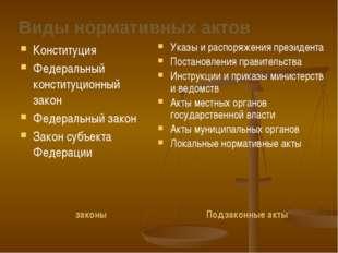 Виды нормативных актов законы Конституция Федеральный конституционный закон Ф