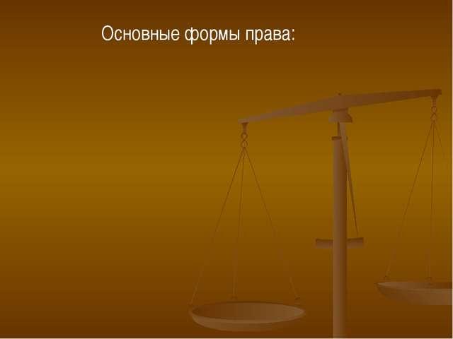 Основные формы права: