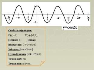 Свойства функции: D(y)=R; E(y)=[-1;1]; Период: π ; Четная; Возрастает: [-π/2+
