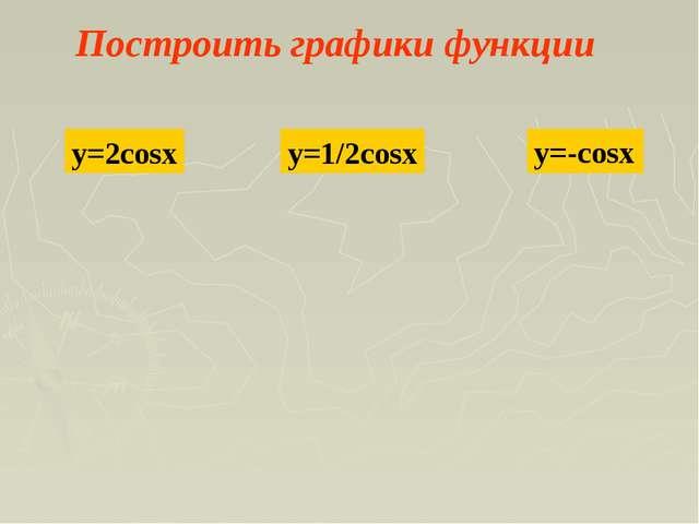 Построить графики функции y=2cosx y=1/2cosx y=-cosx