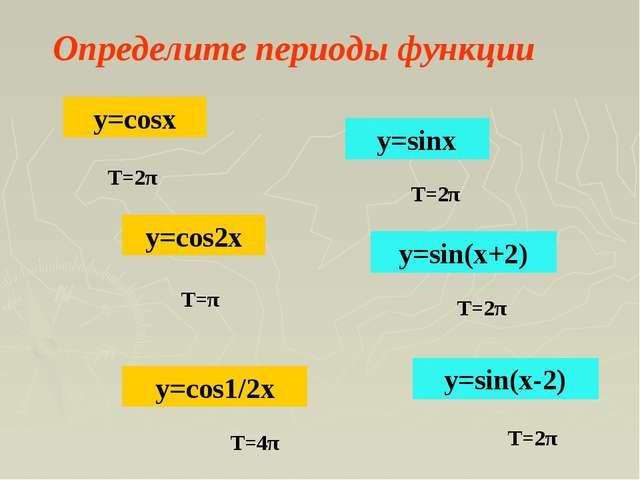 Определите периоды функции y=cos2x y=sin(x-2) y=cos1/2x y=sin(x+2) y=cosx y=s...