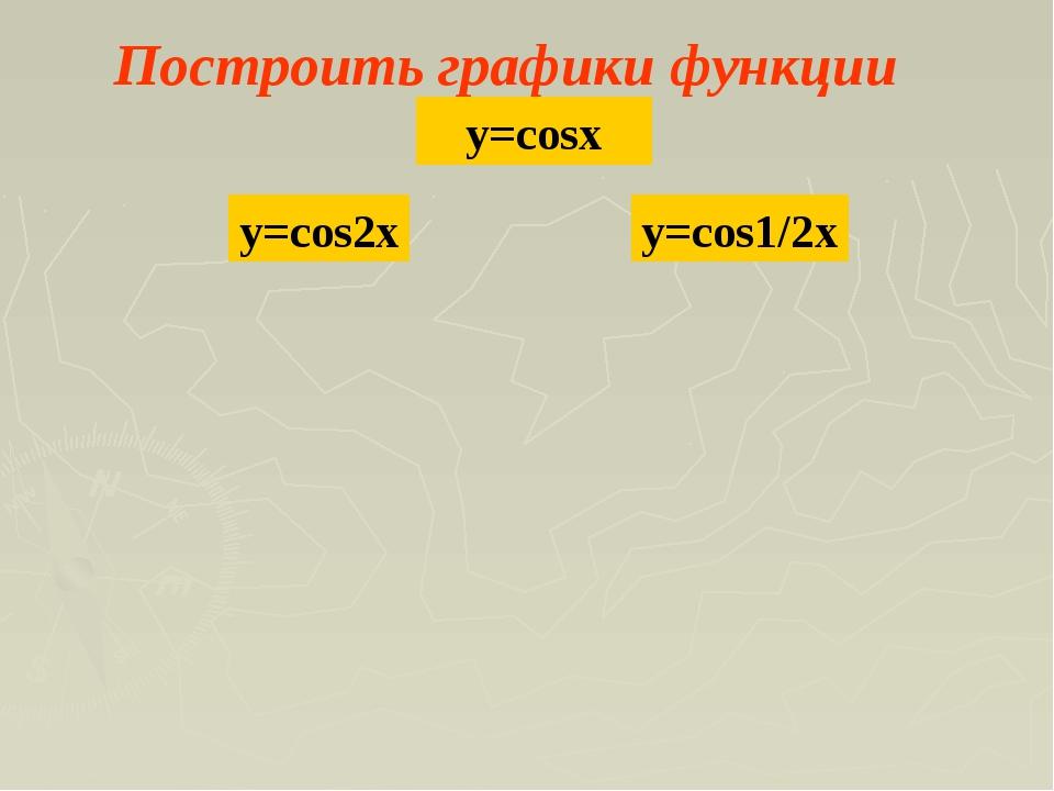 Построить графики функции y=cosx y=cos2x y=cos1/2x