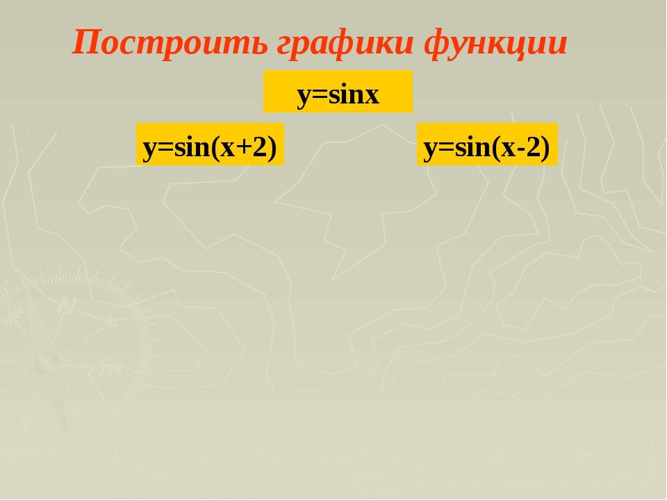 Построить графики функции y=sinx y=sin(x+2) y=sin(x-2)
