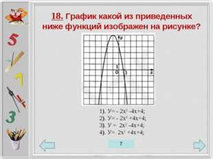 18. График какой из приведенных ниже функций изображен на рисунке? 1). У= - 2