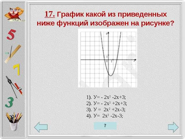 17. График какой из приведенных ниже функций изображен на рисунке? 1). У= - 2...