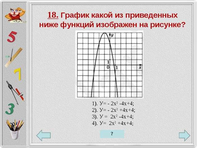 18. График какой из приведенных ниже функций изображен на рисунке? 1). У= - 2...