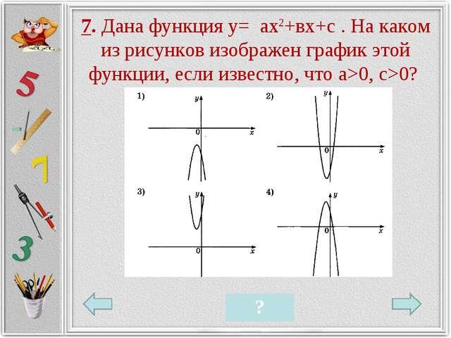 7. Дана функция у= ах2+вх+с . На каком из рисунков изображен график этой функ...