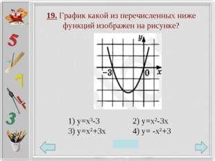 19. График какой из перечисленных ниже функций изображен на рисунке? 1) у=х3-