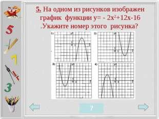 5. На одном из рисунков изображен график функции у= - 2х2+12х-16 .Укажите ном
