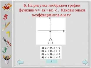 6. На рисунке изображен график функции у= ах2+вх+с . Каковы знаки коэффициент
