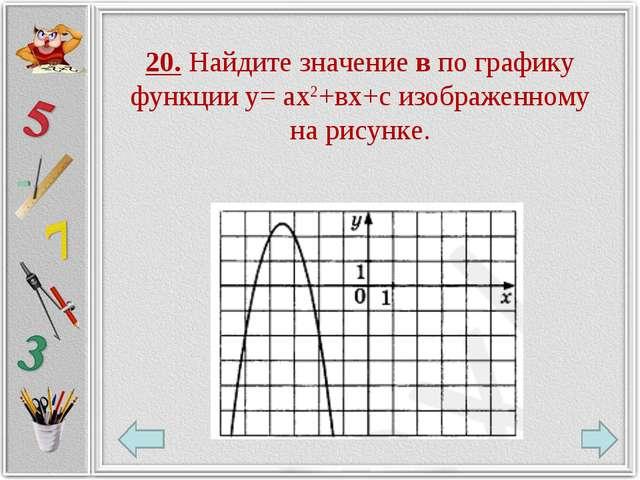 20. Найдите значение в по графику функции у= ах2+вх+с изображенному на рисунке.