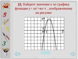 19. Найдите значение с по графику функции у= ах2+вх+с , изображенному на рису