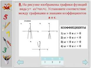 8. На рисунке изображены графики функций вида у= ах2+вх+с. Установите соответ