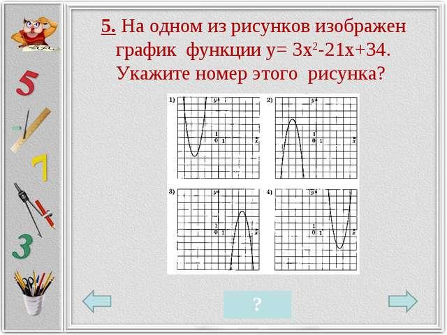 5. На одном из рисунков изображен график функции у= 3х2-21х+34. Укажите номер...