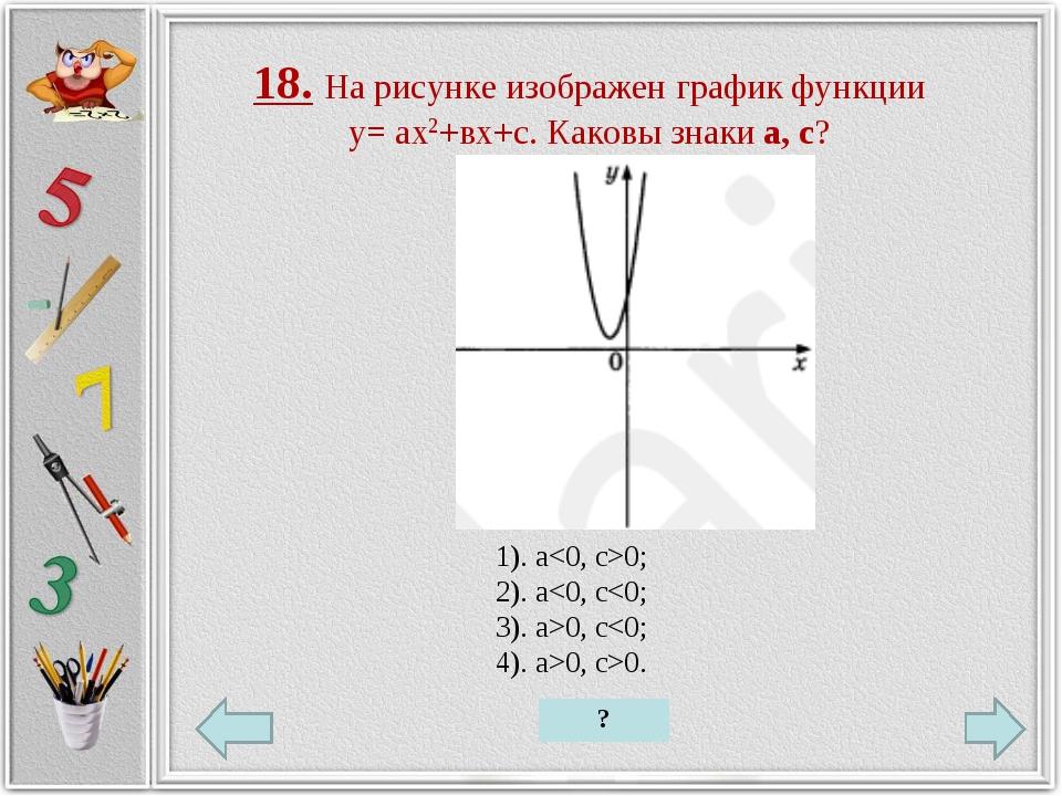18. На рисунке изображен график функции у= ах2+вх+с. Каковы знаки а, с? 1). a...