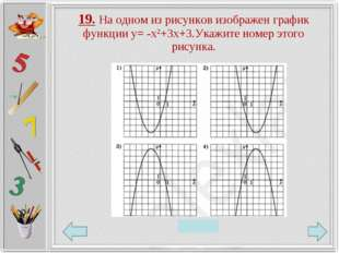 19. На одном из рисунков изображен график функции у= -х2+3х+3.Укажите номер э