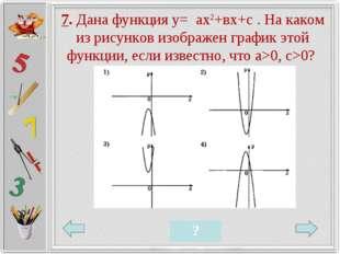 7. Дана функция у= ах2+вх+с . На каком из рисунков изображен график этой функ