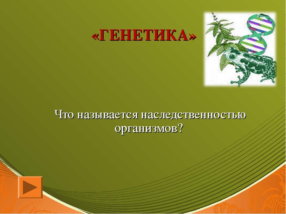 «ГЕНЕТИКА» Что называется наследственностью организмов?