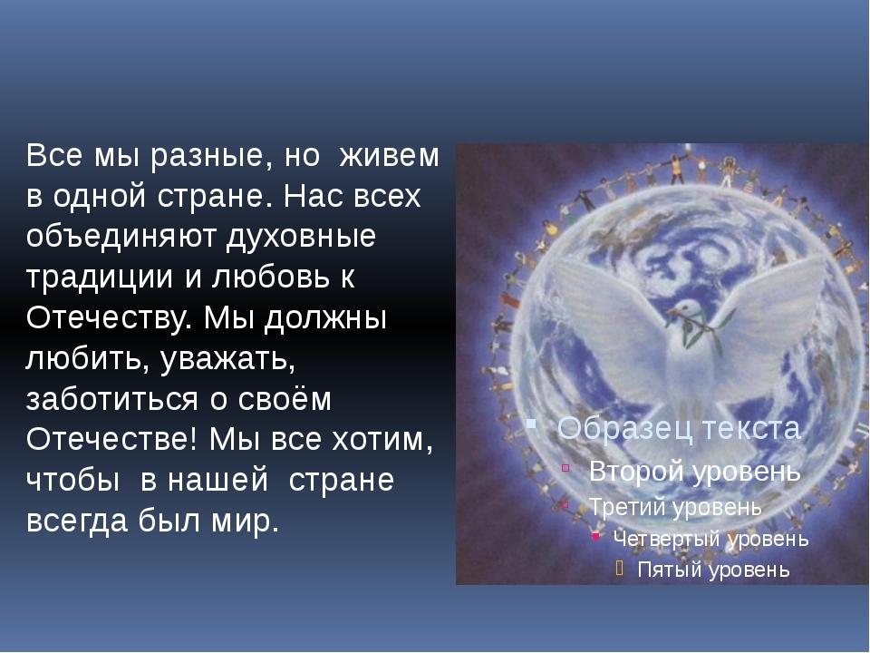Все мы разные, но живем в одной стране. Нас всех объединяют духовные традиции...