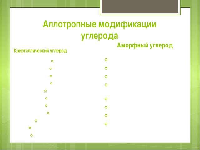 Аллотропные модификации углерода Кристаллический углерод Алмаз Графен Графит...