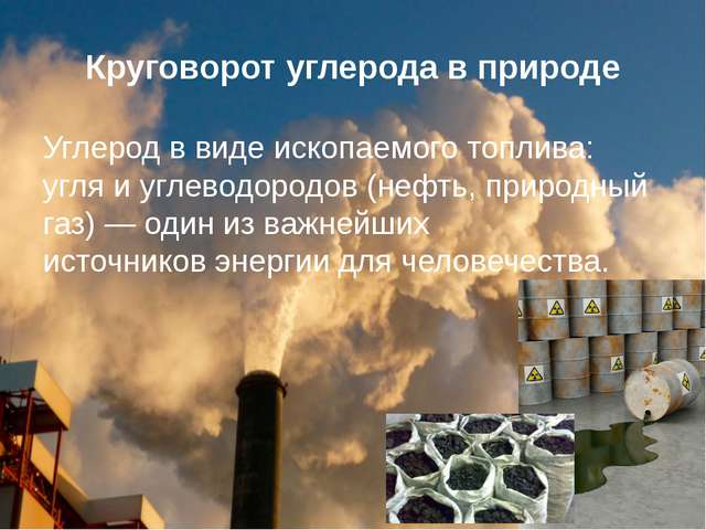 Круговорот углерода в природе Углерод в виде ископаемого топлива: угляиугле...