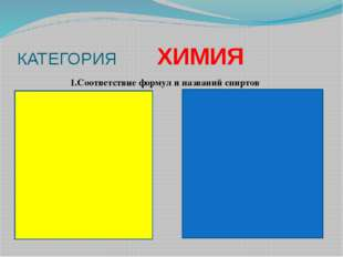 КАТЕГОРИЯ ХИМИЯ 1.Соответствие формул и названий спиртов 2. глицерин 5. 2,2