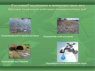 Состояние подземных и поверхностных вод Причины загрязнения подземных и пове