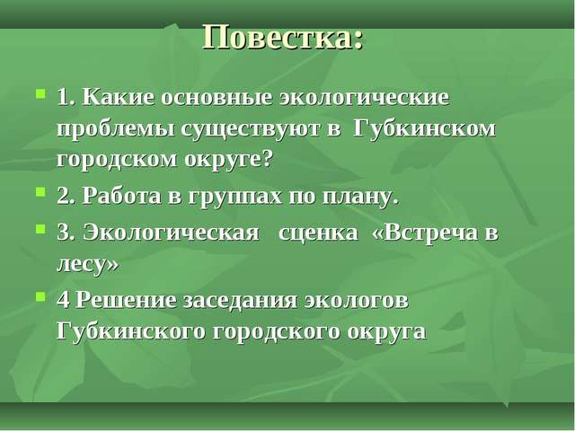 Повестка: 1. Какие основные экологические проблемы существуют в Губкинском го...