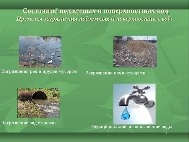 Состояние подземных и поверхностных вод Причины загрязнения подземных и пове...