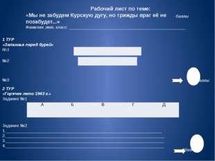 Рабочий лист по теме: «Мы не забудем Курскую дугу, но трижды враг её не поза
