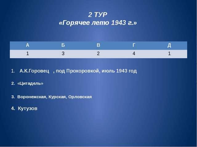 2 ТУР «Горячее лето 1943г.» 1. А.К.Горовец , под Прохоровкой, июль 1943 год...