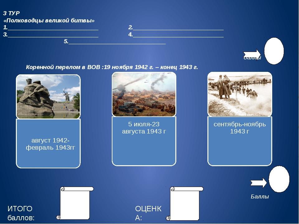 3 ТУР «Полководцы великой битвы» 1.____________________________ 2.__________...