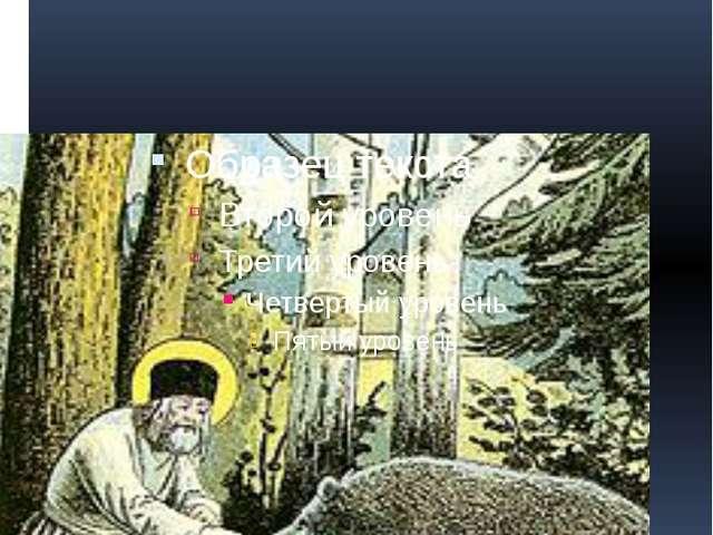 Около кельи Серафим развёл огород и устроил пчельник. Житие сообщает о случае...