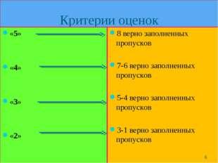 Критерии оценок «5» «4» «3» «2» 8 верно заполненных пропусков 7-6 верно запол