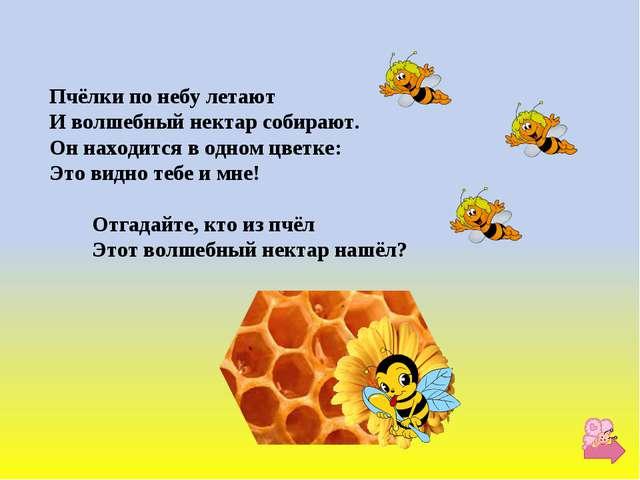 Пчёлки по небу летают И волшебный нектар собирают. Он находится в одном цветк...
