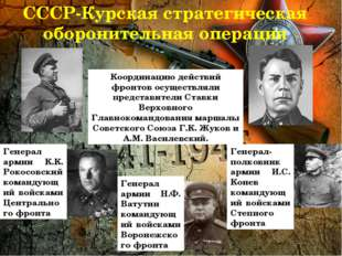 СССР-Курская стратегическая оборонительная операция Координацию действий фрон