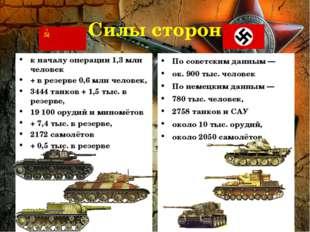 Силы сторон к началу операции 1,3 млн человек + в резерве 0,6 млн человек, 34